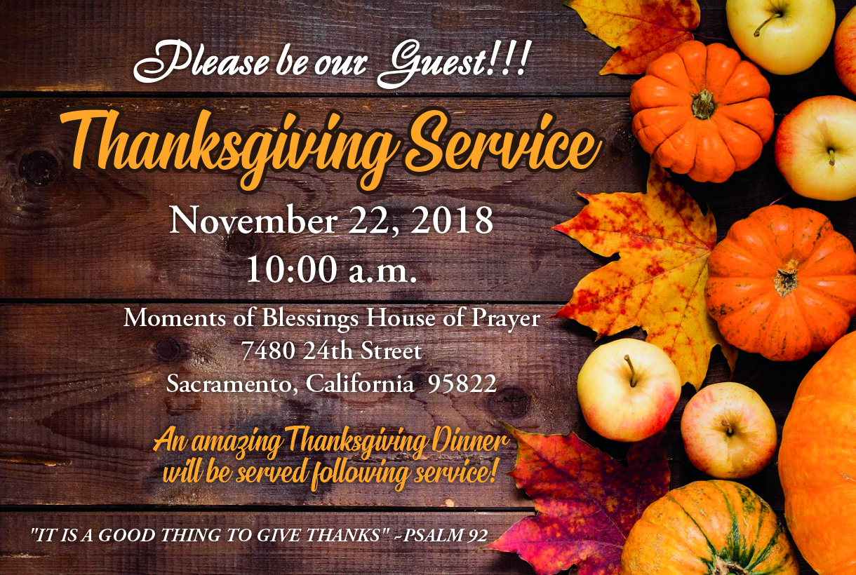 2018 Thanksgiving Service And Dinner